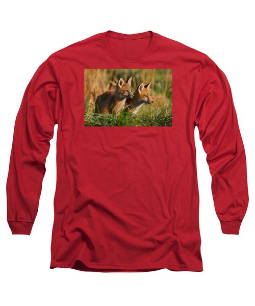 Fox Cubs At Sunrise Long Sleeve T-Shirt