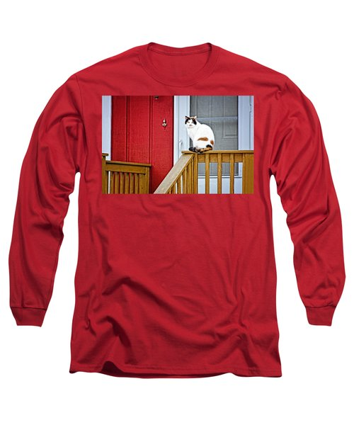 Front Porch Cat Long Sleeve T-Shirt