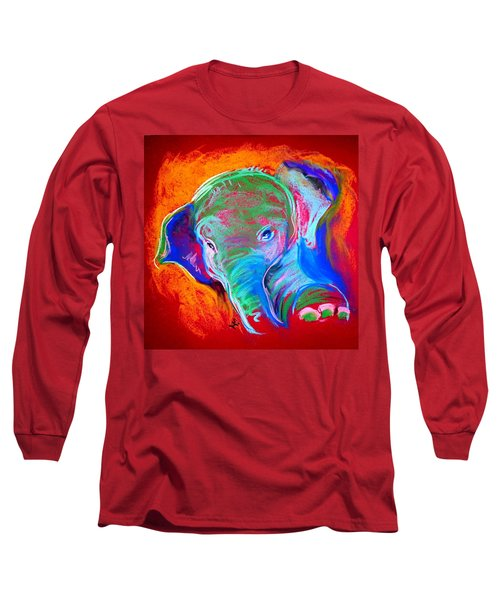 Funky Baby Elephant Blue Long Sleeve T-Shirt