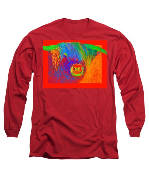 Funky Scottish Highland Cow Wildlife Art Prints Long Sleeve T-Shirt