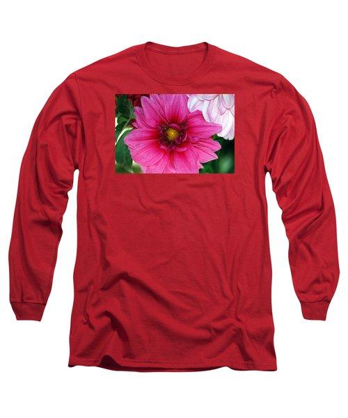 Fushia Pink Dahlia Long Sleeve T-Shirt by Lehua Pekelo-Stearns