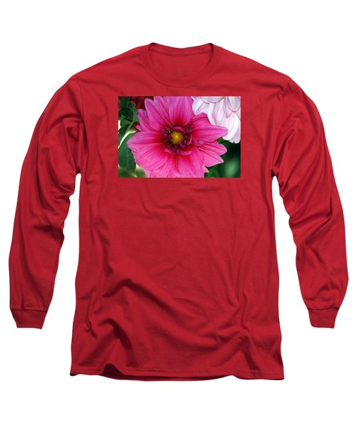 Fushia Pink Dahlia Long Sleeve T-Shirt
