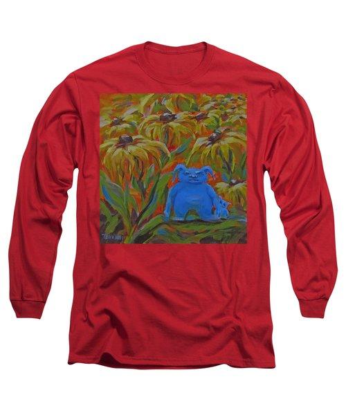 Long Sleeve T-Shirt featuring the painting Garden Secrets by Karen Ilari