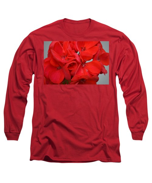 Geranium Red Long Sleeve T-Shirt by Maria Urso