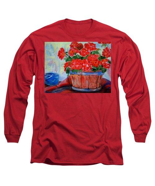 Geraniums Long Sleeve T-Shirt by Enzie Shahmiri