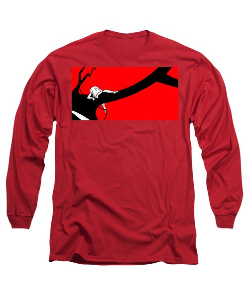 Girl On The Tree Of Time Red Long Sleeve T-Shirt