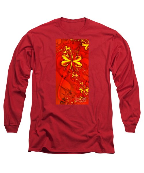 Gold Flowers Long Sleeve T-Shirt by Lena Auxier