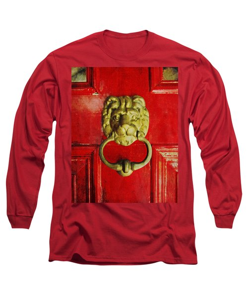 Golden Brass Lion On Red Door Long Sleeve T-Shirt