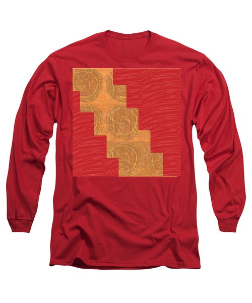 Long Sleeve T-Shirt featuring the photograph Golden Circles Red Sparkle  by Navin Joshi