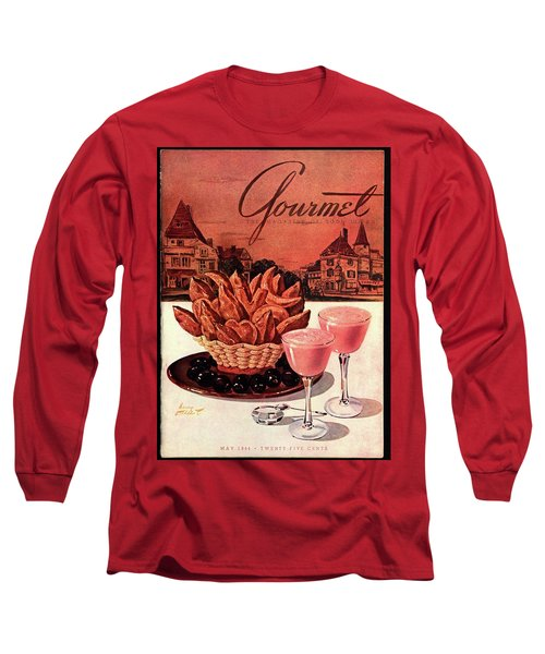 Gourmet Cover Featuring A Basket Of Potato Curls Long Sleeve T-Shirt by Henry Stahlhut