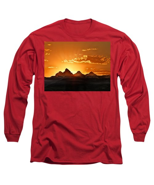 Grand Teton Sunrise Long Sleeve T-Shirt by Leland D Howard