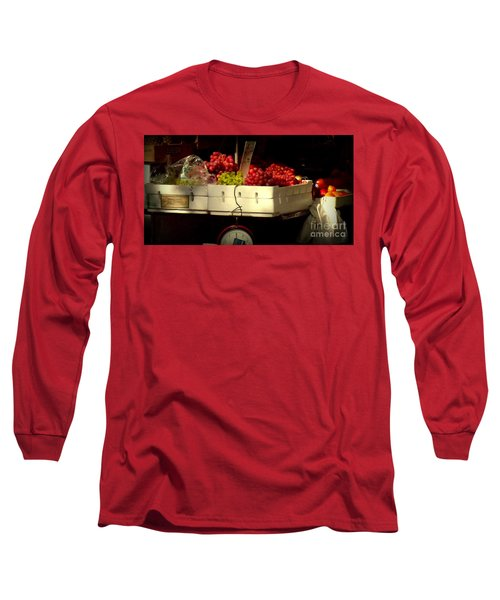 Grapes With Weighing Scale Long Sleeve T-Shirt by Miriam Danar