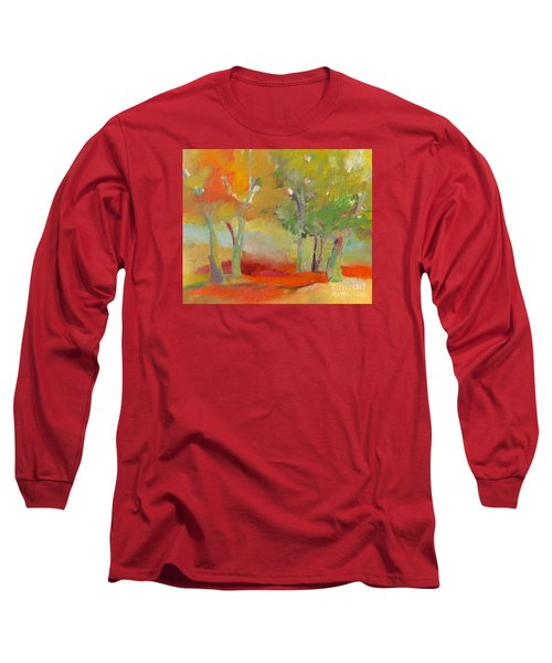 Long Sleeve T-Shirt featuring the painting Green Trees by Michelle Abrams