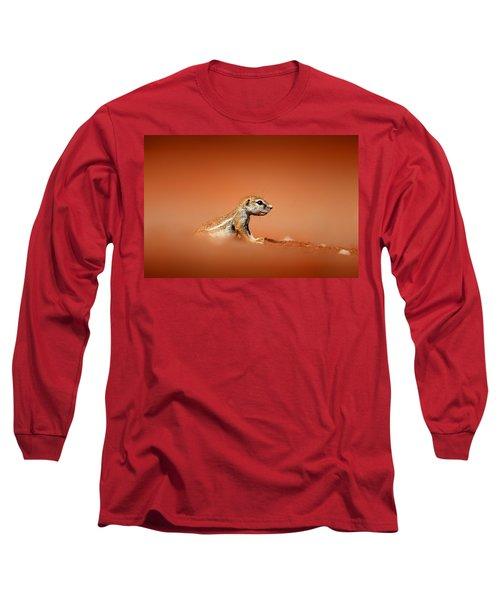 Ground Squirrel On Red Desert Sand Long Sleeve T-Shirt