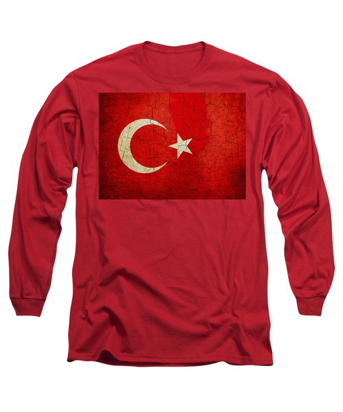 Grunge Turkey Flag Long Sleeve T-Shirt