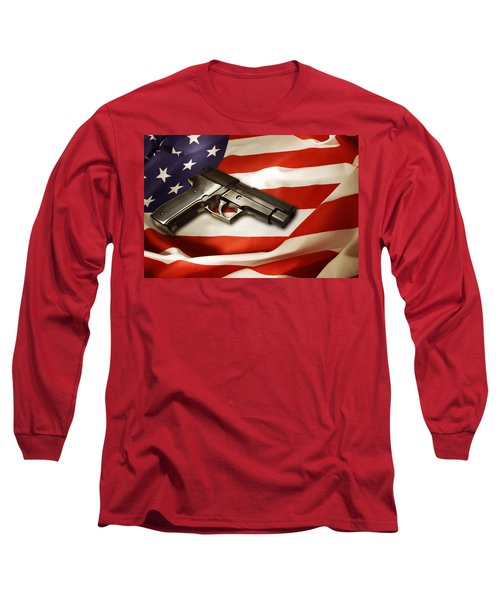 Gun On Flag Long Sleeve T-Shirt by Les Cunliffe
