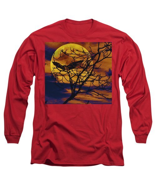 Long Sleeve T-Shirt featuring the painting Halloween Full Moon Terror by David Mckinney