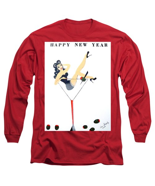 Long Sleeve T-Shirt featuring the painting Happy New Year by Nora Shepley