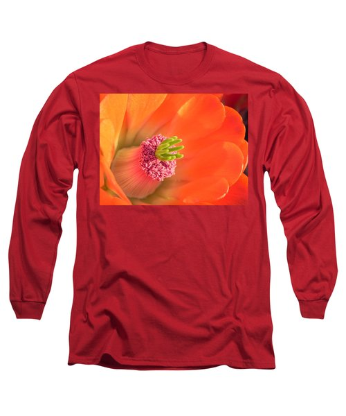 Long Sleeve T-Shirt featuring the photograph Hedgehog Cactus Flower by Deb Halloran
