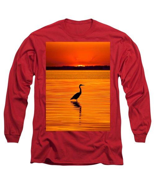 Heron With Burnt Sienna Sunset Long Sleeve T-Shirt