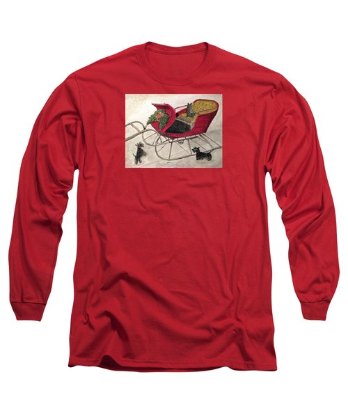 Hoping For A Sleigh Ride Long Sleeve T-Shirt by Angela Davies