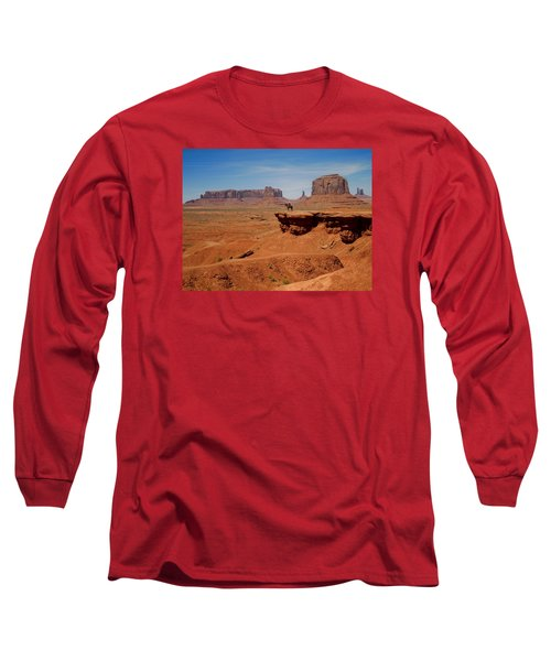 Horse And Rider In Monument Valley Long Sleeve T-Shirt
