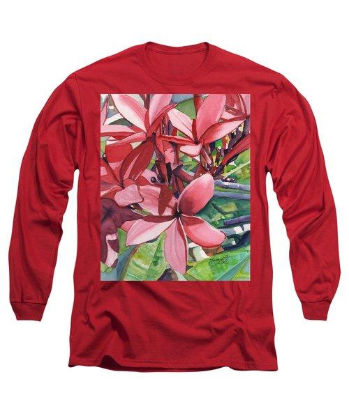 Hot Pink Plumeria Long Sleeve T-Shirt