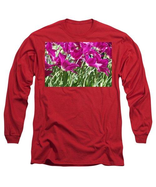 Long Sleeve T-Shirt featuring the photograph Hot Pink Tulips 2 by Allen Beatty