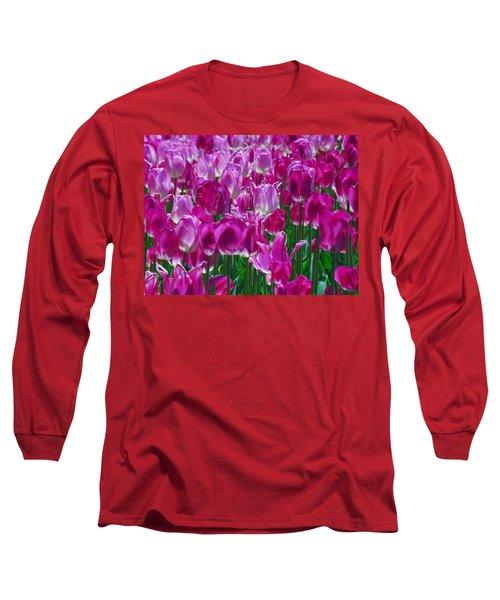 Hot Pink Tulips 3 Long Sleeve T-Shirt by Allen Beatty