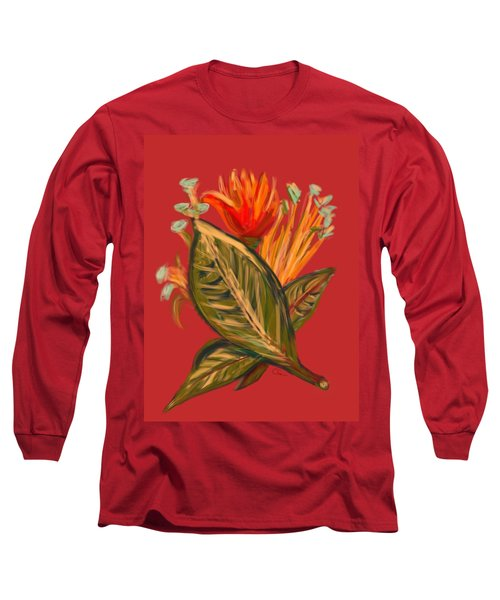 Long Sleeve T-Shirt featuring the digital art Hot Tulip L by Christine Fournier