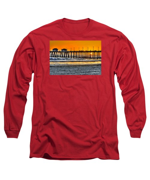 Long Sleeve T-Shirt featuring the photograph Huntington Beach Sunset by Jim Carrell