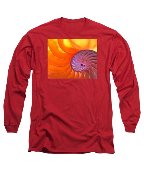 Illuminated Translucent Nautilus Shell With Spiral Long Sleeve T-Shirt