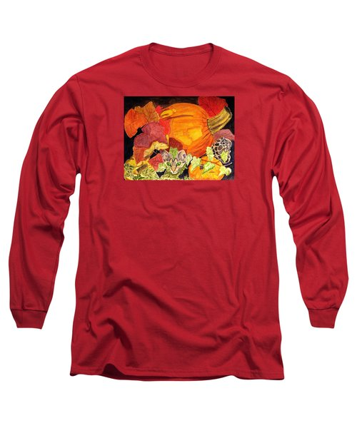 Long Sleeve T-Shirt featuring the painting I'm Hiding In The Pumpkin Patch by Angela Davies