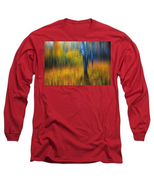 In The Golden Woods. Impressionism Long Sleeve T-Shirt by Jenny Rainbow