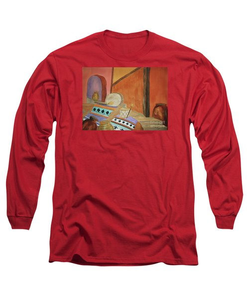 Long Sleeve T-Shirt featuring the painting Indian Blankets Jars And Drums by Ellen Levinson