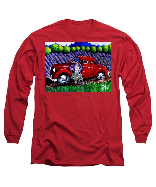 J. C. 1931 Fishing In Red Long Sleeve T-Shirt by Jackie Carpenter