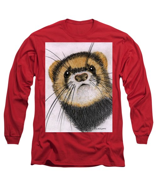 Long Sleeve T-Shirt featuring the drawing Jasper by Barbara Moignard