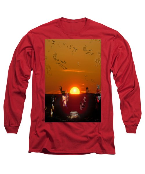 Long Sleeve T-Shirt featuring the digital art Jazz Fest by Cathy Anderson