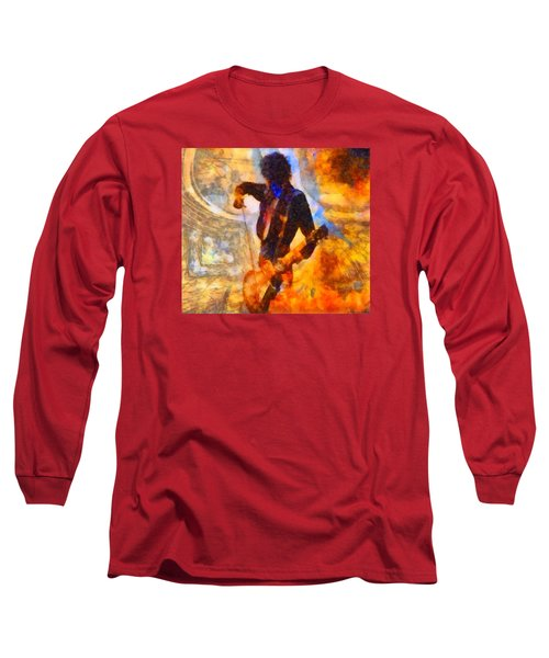 Jimmy Page Playing Guitar With Bow Long Sleeve T-Shirt by Dan Sproul