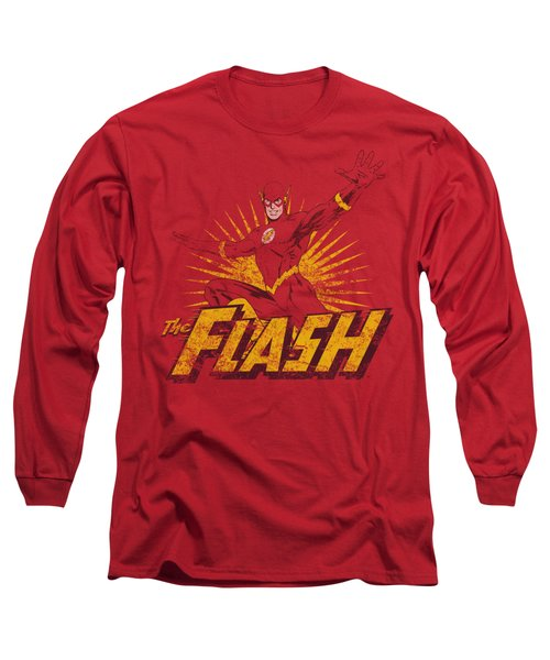 Jla - Flash Rough Distress Long Sleeve T-Shirt
