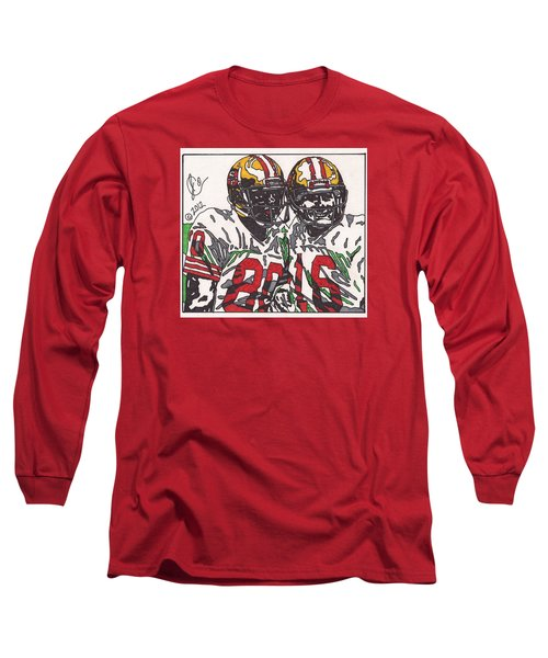 Joe Montana And Jerry Rice Long Sleeve T-Shirt by Jeremiah Colley