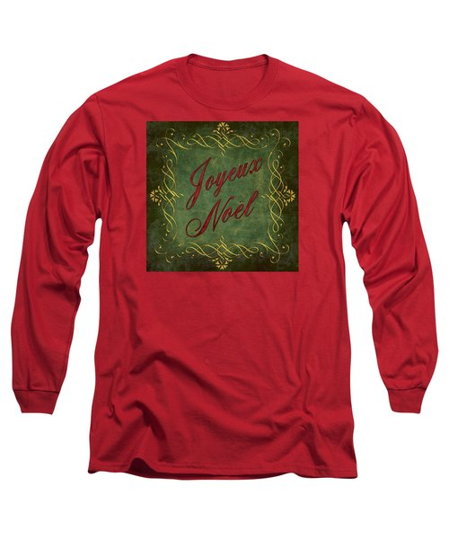 Long Sleeve T-Shirt featuring the digital art Joyeux Noel In Green And Red by Caitlyn  Grasso