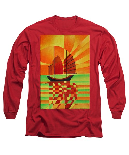 Long Sleeve T-Shirt featuring the painting Junk On A Sea Of Green by Tracey Harrington-Simpson