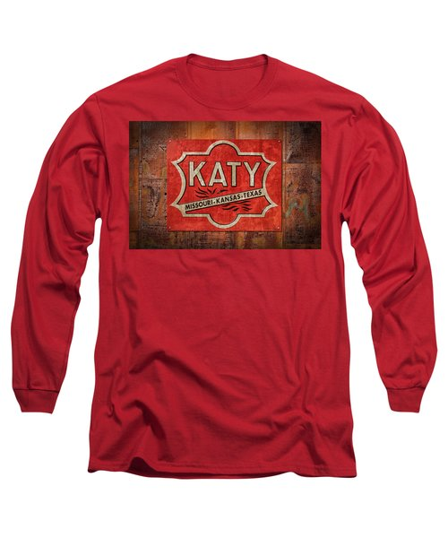 Katy Railroad Sign Dsc02853 Long Sleeve T-Shirt by Greg Kluempers