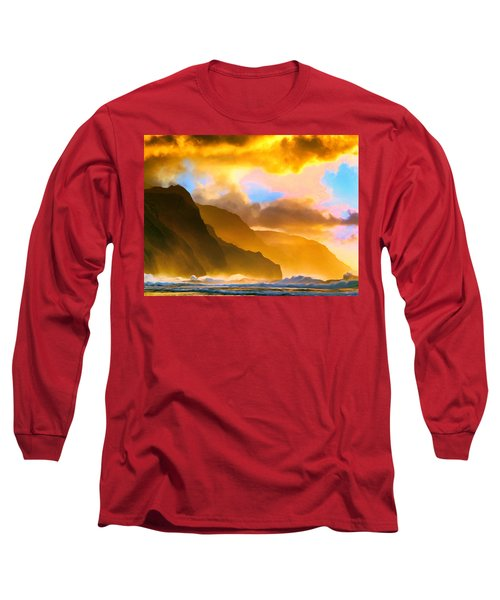 Ke'e Beach Sunset Long Sleeve T-Shirt