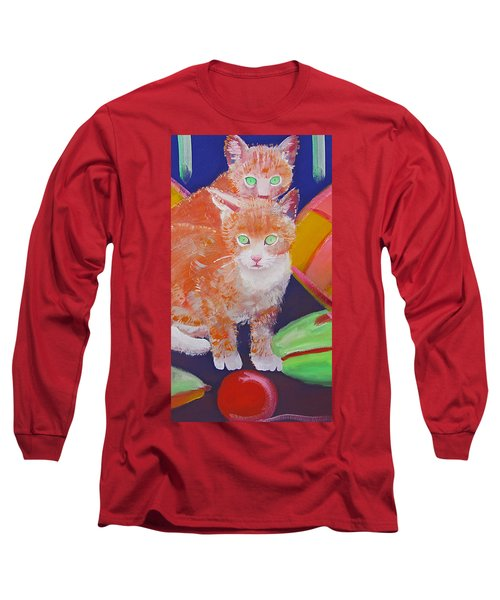 kittens With A Ball of Wool Long Sleeve T-Shirt by Charles Stuart