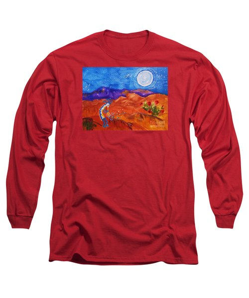 Kokopelli Playing To The Moon Long Sleeve T-Shirt by Ellen Levinson