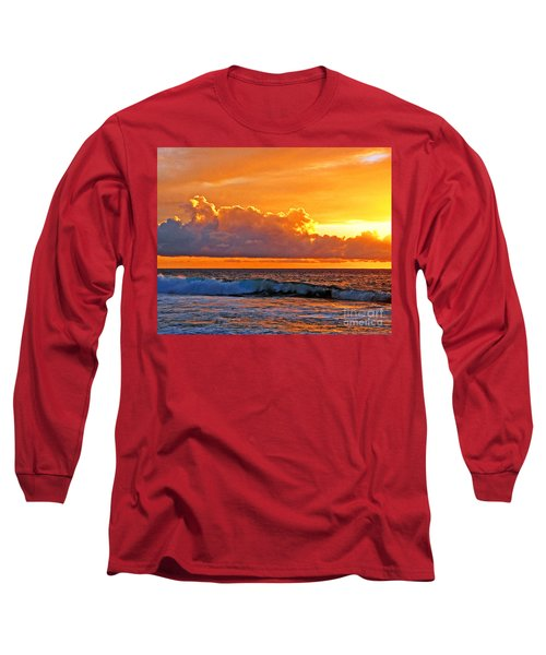 Long Sleeve T-Shirt featuring the photograph Kona Golden Sunset by David Lawson