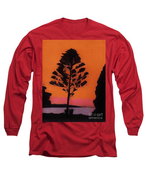 Long Sleeve T-Shirt featuring the drawing Lake Sunset by D Hackett