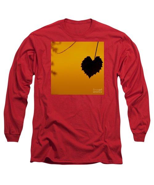 Last Leaf Silhouette Long Sleeve T-Shirt by Joy Hardee